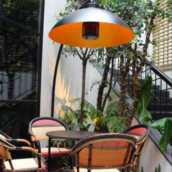 lampe chauffante design sur pied dome arc pour terrasse ou jardin. Black Bedroom Furniture Sets. Home Design Ideas