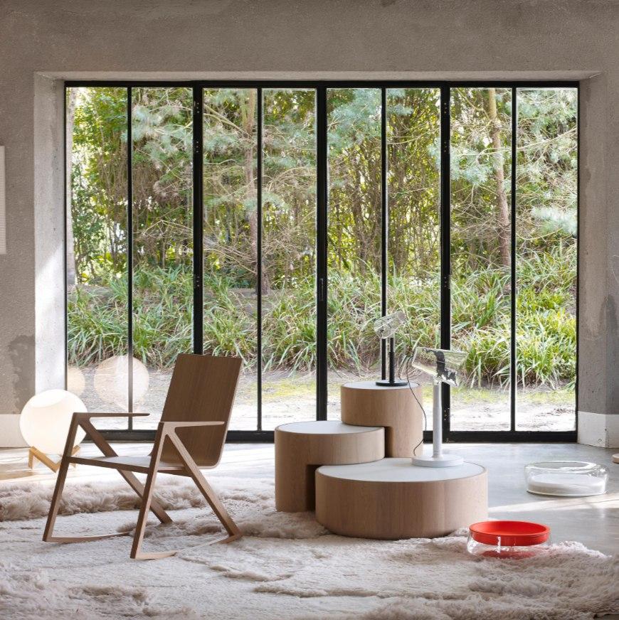 Tables basses LEVELS PERUSE design en bois et verre marque Peruse salon