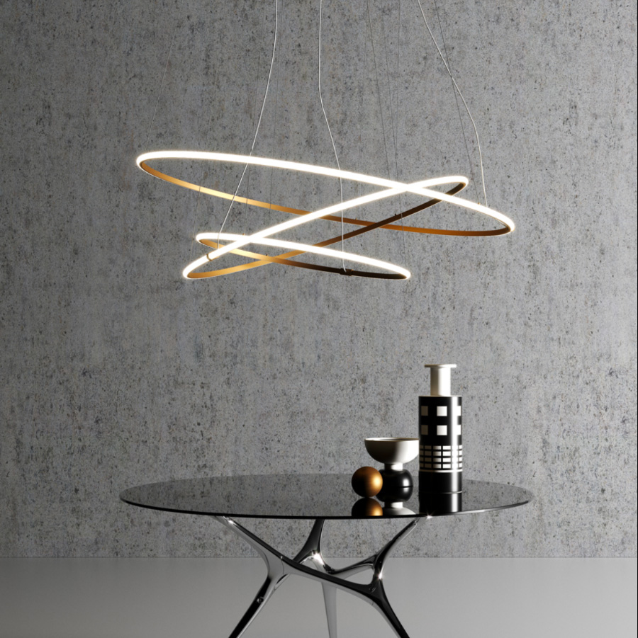 La suspension OLYMPIC de la marque italienne Fabbian est remarquable par son design unique.